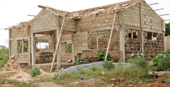 partially constructed library in Myora, Ghana